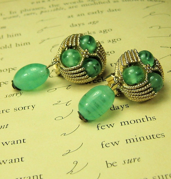 Vintage Green Glass Earrings
