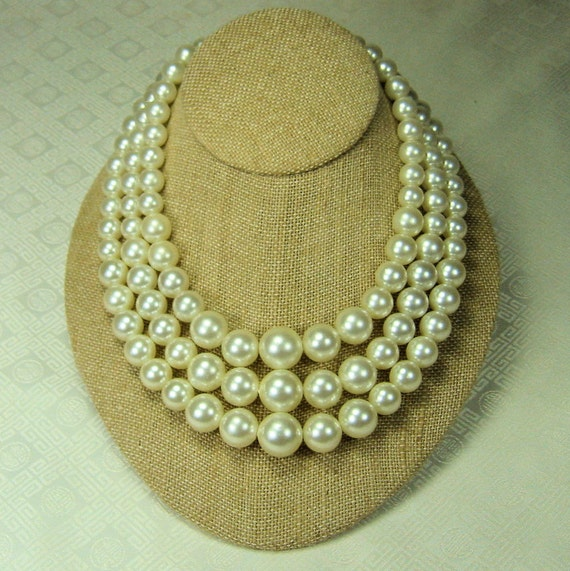 Vintage Triple Strand Faux Pearl Necklace signed Marvella