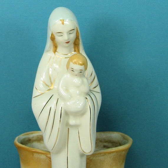 Vintage Religious Ceramic Vase Virgin Mary and Baby Jesus