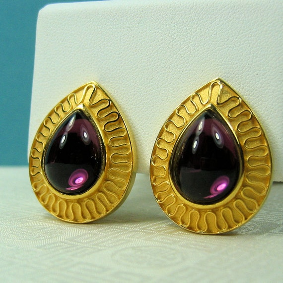 Vintage Purple Earrings signed Alfred Sung