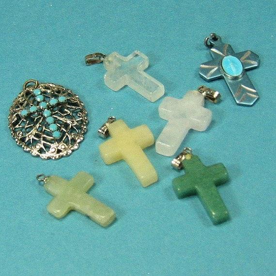 Reserved for Sandra.7 Vintage Cross Pendants