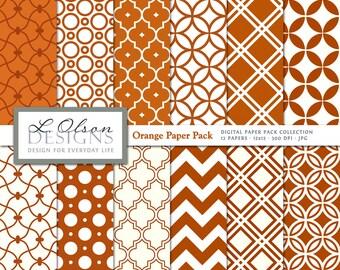 Orange Paper Pack - 12 digital paper patterns - INSTANT DOWNLOAD