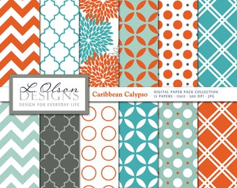 Teal and Tangerine Paper Pack - 12 digital paper patterns - INSTANT DOWNLOAD