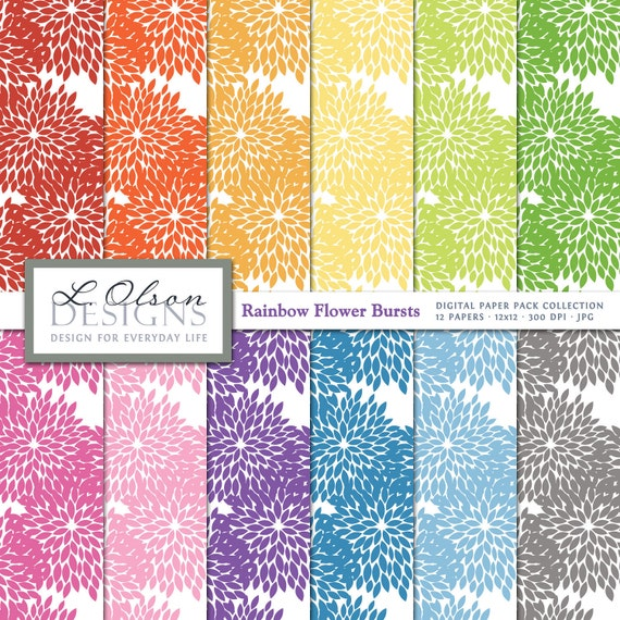 Rainbow Flower Bursts Paper Pack - 12 digital paper patterns - INSTANT DOWNLOAD