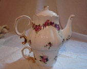 Stackable Glass Personal Shabby Chic Rose Teapot with Matching Cup