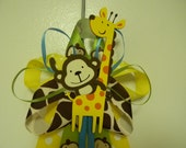 JUNGLE theme Monkey and Giraffe baby shower pin/corsage