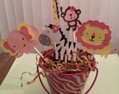 12 Safari, jungle or zoo cupcake picks/toppers for girl