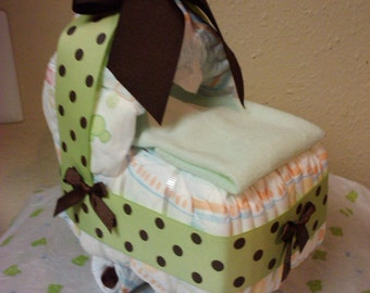 Green & brown diaper bassinet baby shower present/decor