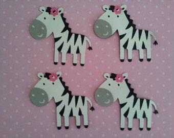 "set of 4 Zebras girls 2.5"" Die Cuts"