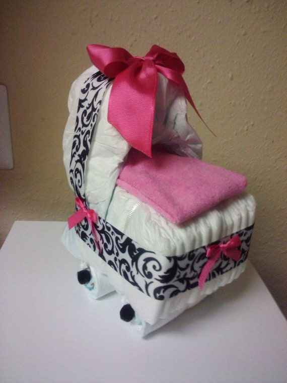 Black and white Damask with Hot Pink diaper bassinet, baby shower decoration