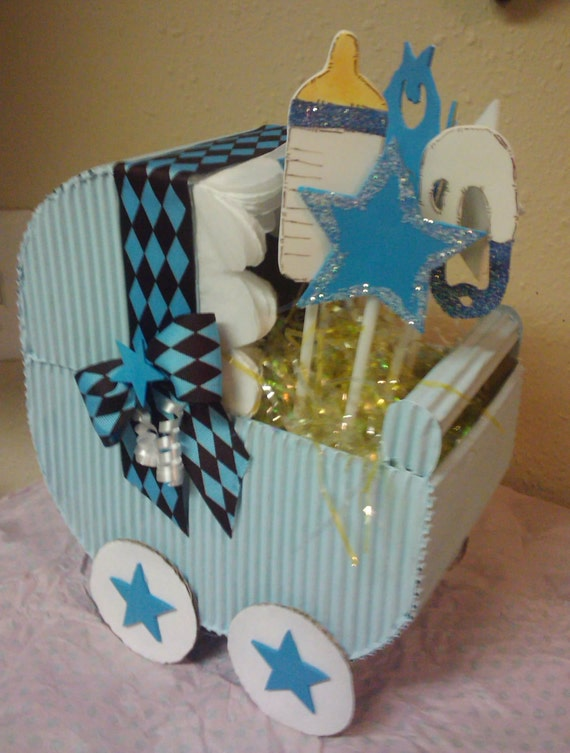 5 blue carriage baby shower centerpiece gift decoration for Baby carriage decoration