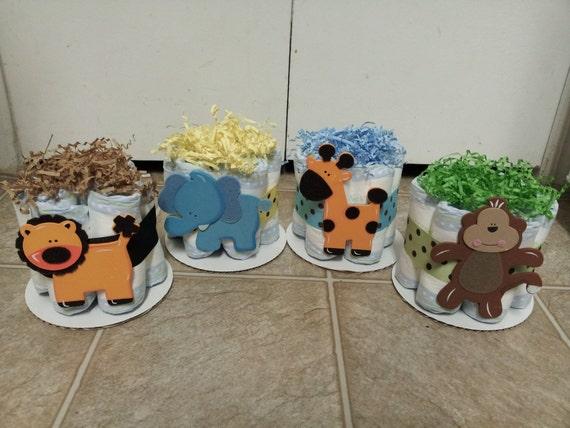 Items similar to 4 jungle theme mini diaper cakes monkey giraffe elephant lion baby shower - Baby shower cakes monkey theme ...