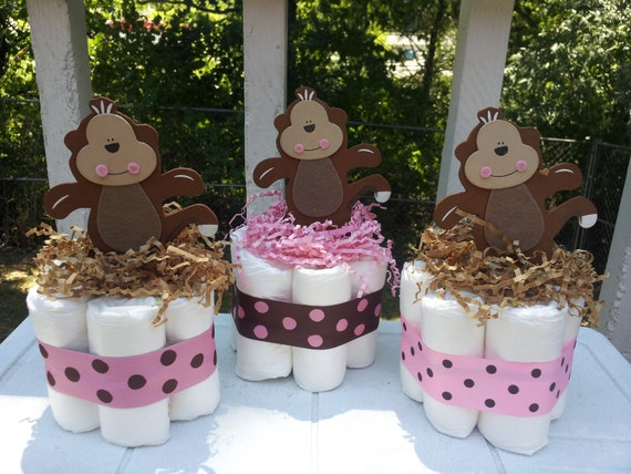 3 MONKEY girl mini diaper cakes, baby shower centerpiece