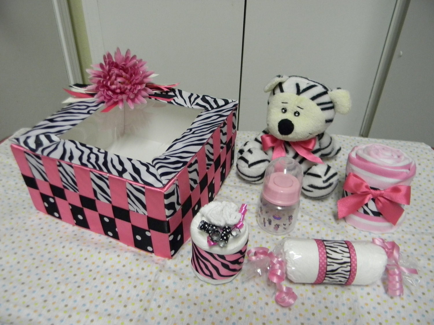 hot pink zebra baby shower centerpiece gift handmade box