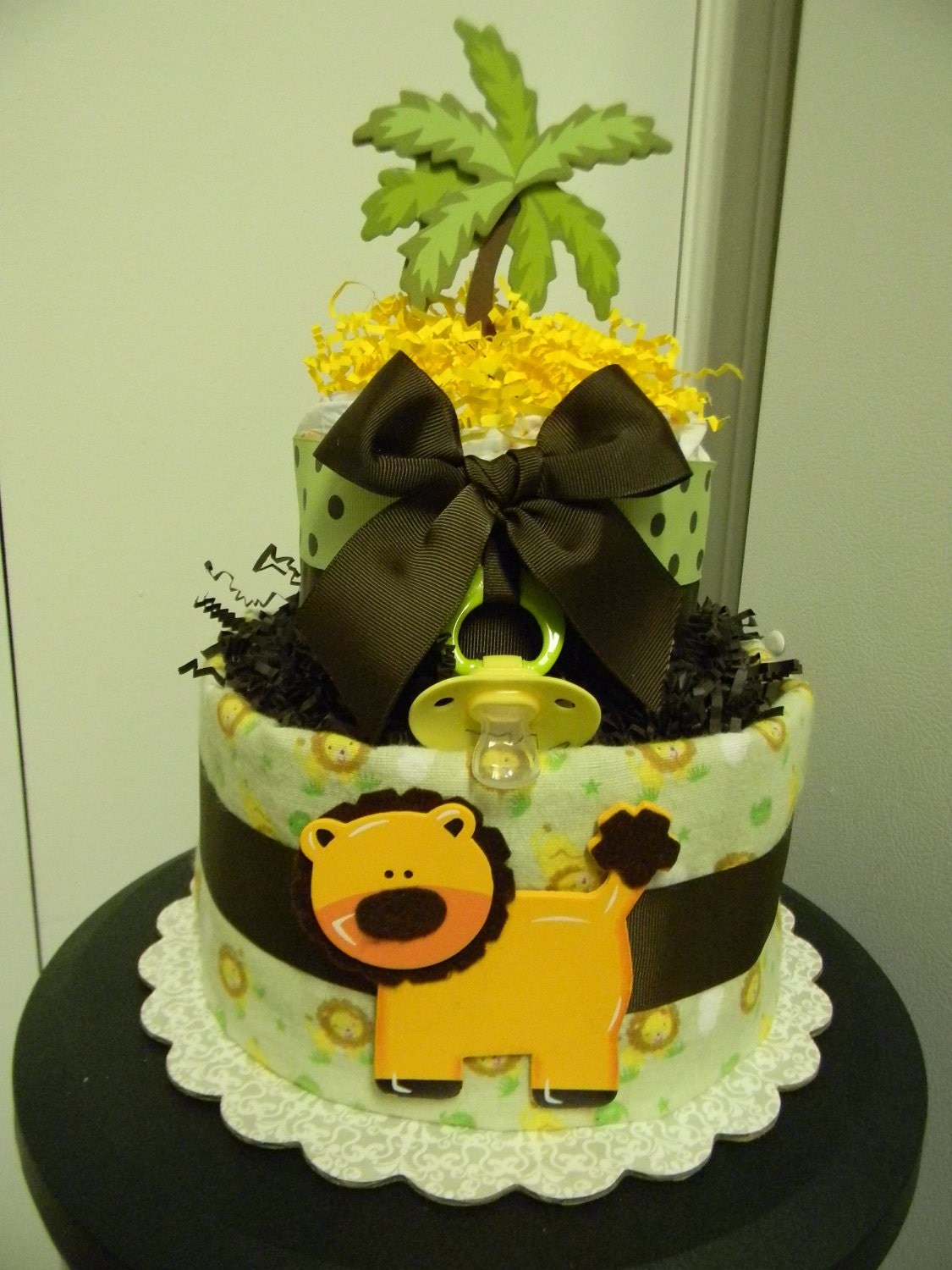 King Of The Jungle Lion 2 Tier Diaper Cake