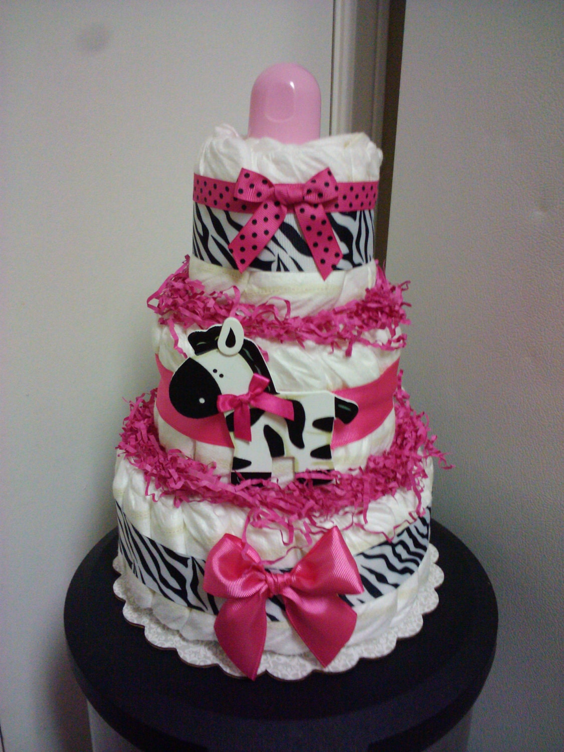 Modern hot pink zebra diaper cake baby shower decoration for Baby shower diaper decoration