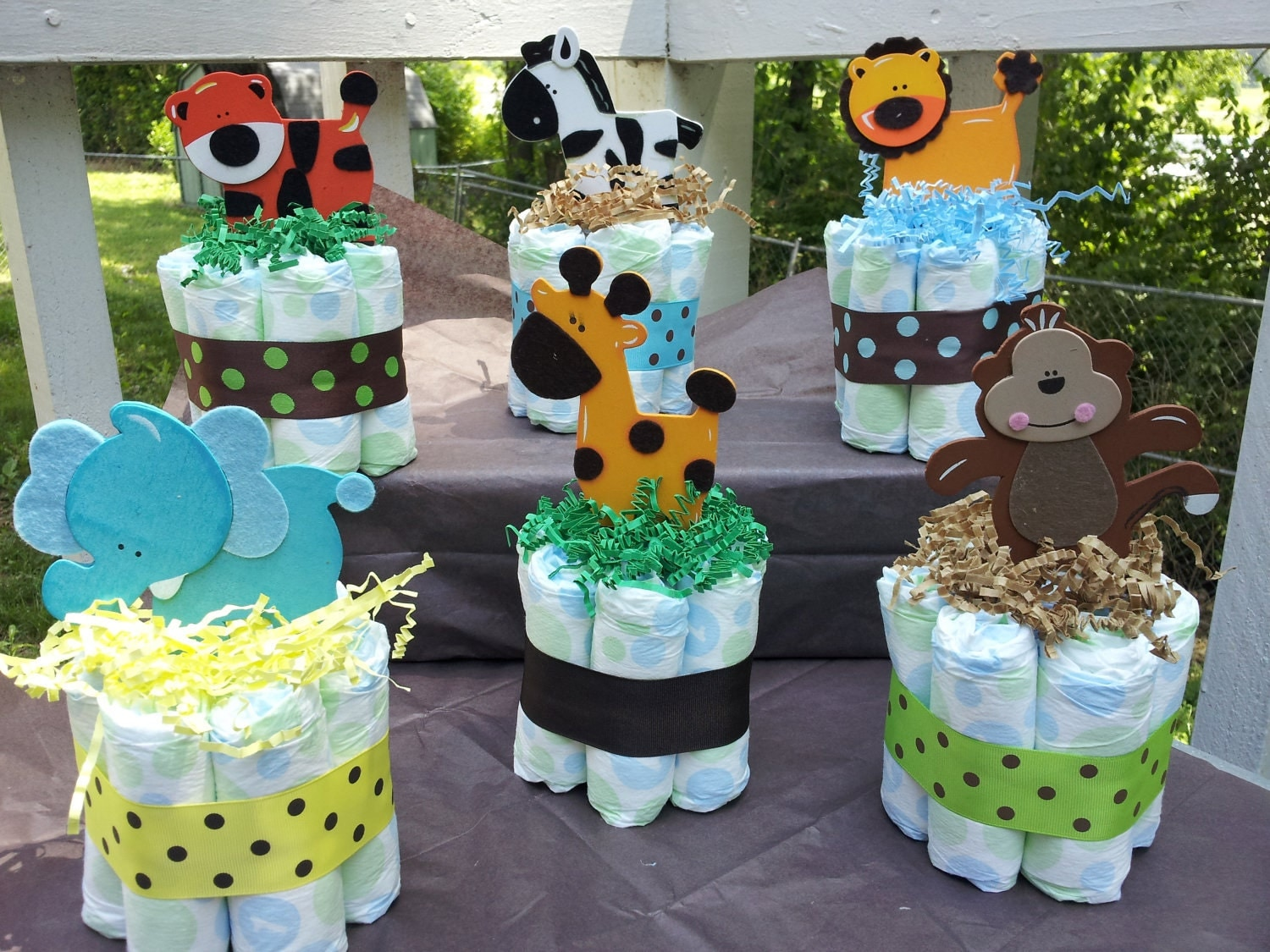 Diaper Cake Centerpiece For Baby Shower : 6 Jungle theme mini diaper cakes baby shower by ...