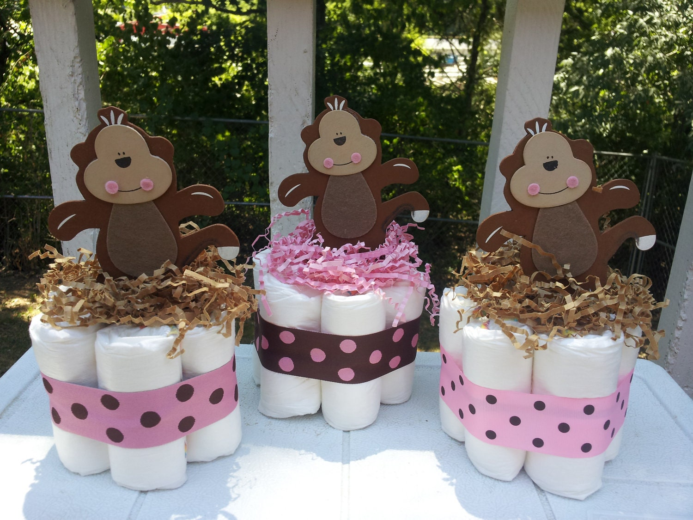 Monkey girl mini diaper cakes baby shower centerpiece