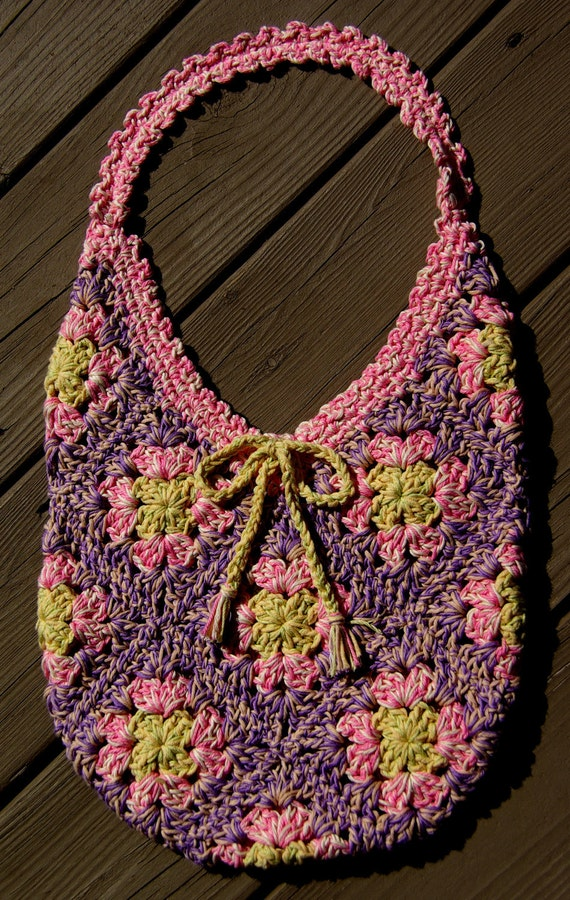 Pastel Crochet Cotton Granny Square Bag Organic Cotton Pink Spring ...