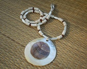 Mother of Pearl Shell Pendant with Bone, Amber and Sterling Silver Beads