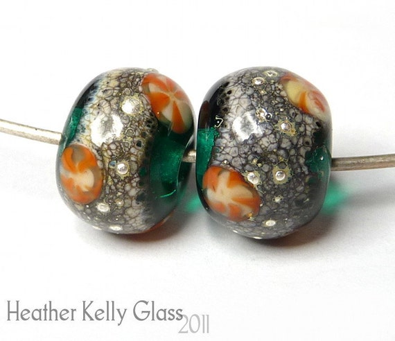 Aqua Sands earring pair - lampwork art glass - GBUK SRA FHFteam y3