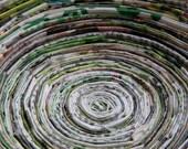 Medium Green Multicolored Recycled Magazine Bowl
