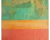 """ORIGINAL Abstract Contemporary Painting Textured Portrait by RACEPONY 24""""x42"""" - burning"""
