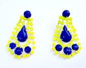 Neon Lemon Yellow Drop Earrings