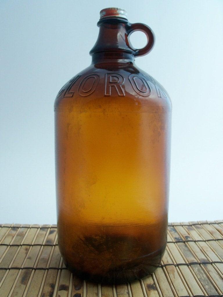 Old Clorox Bleach Half Gallon Amber Jug Bottle Display In