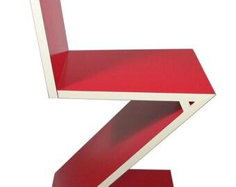 Handmade reproduction of Gerrit Rietveld Zigzag chair c. 1934