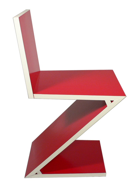 Handmade reproduction of Gerrit Rietveld Zigzag chair c. 1934