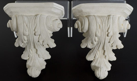 Pair Of Decorative Plaster Wall Sconces In White By