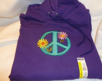 Embroidered Peace Sign Hoodie