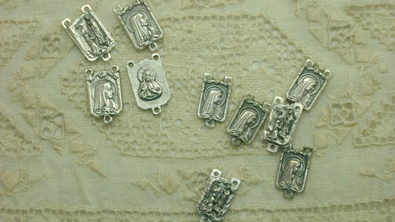 Silver Medal Rosary Center Connectors