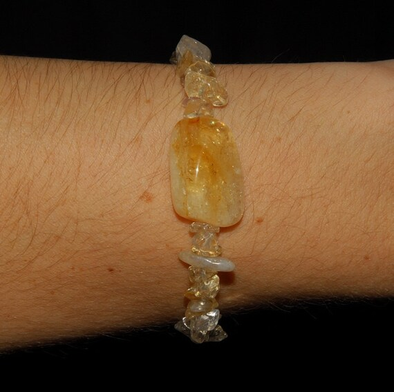 Golden Citrine Chip Stretch Bracelet, Chakra Healing, Reiki Infused, Metaphysical, Made in Alaska, Joy, Abundance, November Birthdays