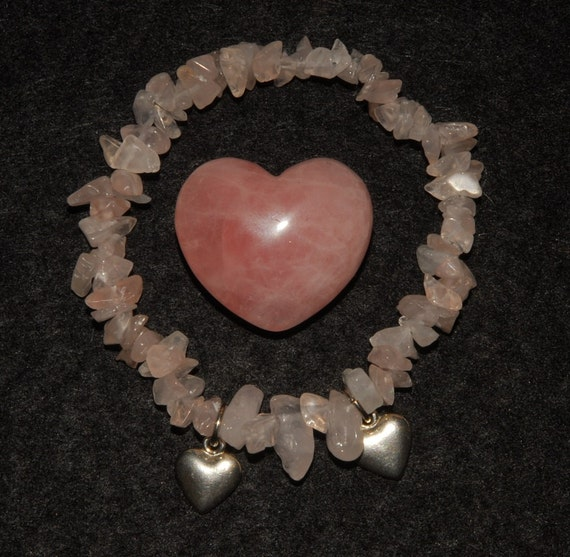 Rose Quartz Chip Bracelet with Twin Silver Hearts Accents, Heart Chakra Healing, Reiki Charged, Valentine Gift, Made in Alaska