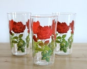 Red Rose Glassware - Vintage Shabby Chic Decorated Tumblers with Ruby Red Flower Decals for Valentines Day (Set of 3)