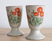 Red Poppy Stoneware Mugs - Retro Footed Japanese Style Tea Cups without Handles (Set of 2)