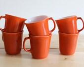 Orange Pyrex Coffee Cups - Bright Tangerine Milk Glass Mugs by Corning (Set of 6)