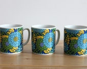 Retro Mugs with Royal Blue, Yellow and Bright Green Flower Design - White Japanese Ceramic Cups