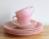 Fire King Pink Swirl Dishes - Vintage Pastel Pink Plate, Cup and Saucer Set - Great for Housewarming or Bridal Showers