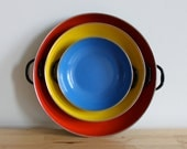 Enamelware Paella Pans - Mid Century Cookware in Primary Colors - Red, Blue and Yellow Round Shallow Baking Dishes