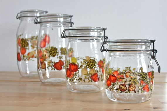 Vintage French Glass Jar Canisters with Wire Gasket Lid Closure - Niveau de Remplissage Vegetable Print (Set of 4)