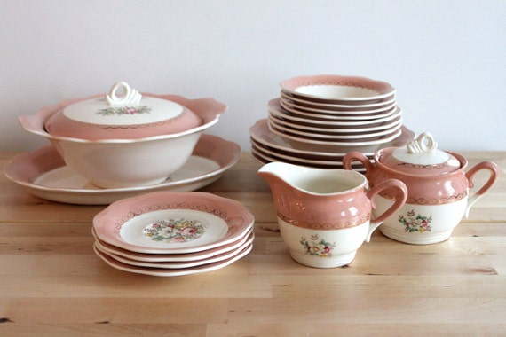 "Cottage Chic ""Dusty Rose"" Pink Dishes - Shabby Chic Kitchen Floral Dinnerware or Tea Set with 22k Gold by Royal Saxon China"