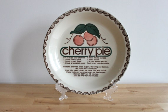 Cherry Pie Plate - Retro Bakeware with San Serif Typographic Font