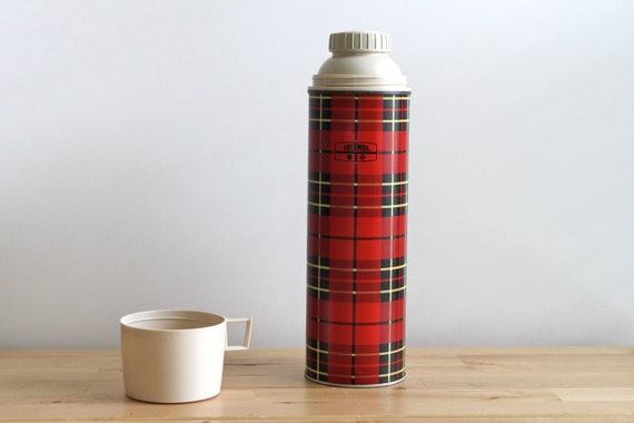Red Plaid Thermos Brand Retro Camping Gear - Aluminum Metal Travel Beverage Holder - Great Gift for Dad on Father's Day