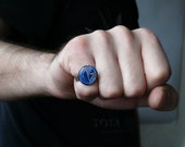 Circuit board geekery adjustable ring Small Blue - recycled computer