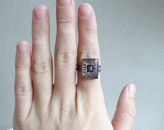 Upcycled geekery ring with cooper chip ready to ship