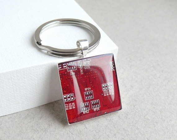 Circuit board geekery key chain Red in silvertone - recycled computer - gift for men under 25