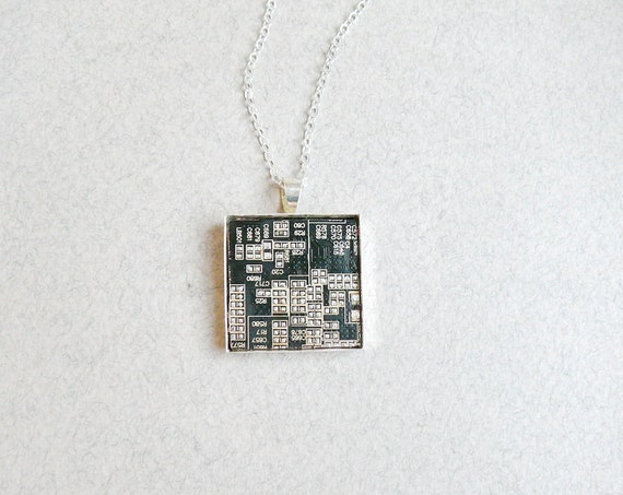 RESERVED for Chris Circuit board geekery necklace Black - recycled computer